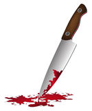 Realistic bloody knife. Knife with blood vector illustration. Stock Photos