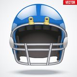 Realistic Blue American football helmet. Front Stock Images