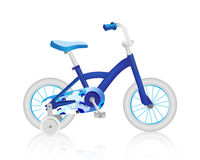 Realistic blue baby bicycle. Vector. Realistic surround, baby blue Bicycle, vector vector illustration