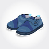 Realistic blue baby shoes for a boy Stock Photo