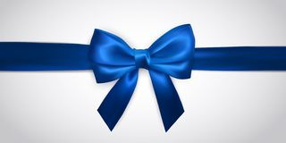 Realistic blue bow with horizontal ribbon isolated on white. Element for decoration gifts, greetings, holidays. Vector. Illustration vector illustration