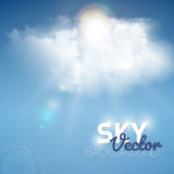 Realistic blue cloud with sun Stock Photo