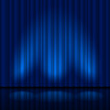 Realistic blue curtain Stock Photography