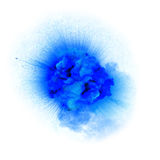 Realistic blue fiery explosion with sparks over a white background royalty free stock image