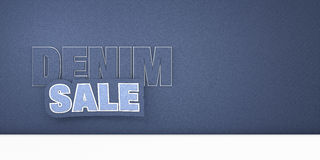 Realistic blue jeans backgound pattern with denim sale tag Stock Image