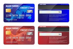 Realistic blue and red bank credit card template isolated. Bank plastic credit card mockup with colorful abstract design. And world map for banking. Vector Stock Photo