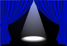 Realistic blue stage curtains and spot ligh stock illustration