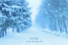 Realistic blurred winter landscape background Royalty Free Stock Photography
