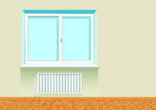Realistic boring window with a radiator. Royalty Free Stock Image