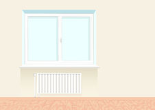 Realistic boring window with a radiator. Realistic boring window with a radiator under it. Wooden floor. Vector illustration Royalty Free Stock Photography