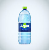 Realistic bottle with clean blue water  on the white background. Vector mockup. Front view. Realistic bottle with clean blue water  on the white background Stock Photography