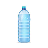 Realistic bottle with clean blue water  on the white background. Vector mockup. Front view. Realistic bottle with clean blue water  on the white background Royalty Free Stock Photos