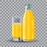 Realistic bottle and glass for milk, juice. Isolated on transparent grid, for design and branding. Transparent glass for every bac Royalty Free Stock Images