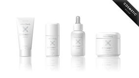 Realistic bottle set. Cosmetic brand template Stock Image