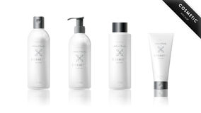 Realistic bottle set. Cosmetic brand template Stock Photo