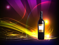 Realistic bottle of sweet wine on the neon backgro Stock Photos