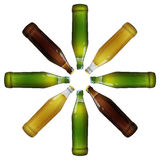 Realistic bottles of beer. Glass bottles of beer in the form of a flower vector Royalty Free Stock Image