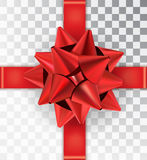 Realistic bow red satin on a transparent background. Red bow with ribbon. Mock-up to create gift cards and packages. Place for an inscription. Vector Royalty Free Stock Photo