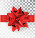 Realistic bow red satin on a transparent background. Red bow with ribbon. Ribbon tied in the middle. Mock-up to create gift cards and packages. Place for an Stock Illustration
