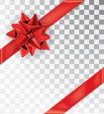 Realistic bow red satin on a transparent background. Ribbon tied at the corners. Realistic bow red satin  on a transparent background.  Mock-up to create gift Stock Image
