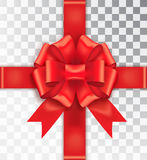 Realistic bow red satin on a transparent background. Ribbon tied in the middle. Realistic bow red satin  on a transparent background. Red bow with ribbon. Mock Stock Images