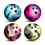 Realistic Bowling Ball Set Vector. Classic Round Ball. Different Views. Sport Game Symbol. Isolated Illustration Stock Photo