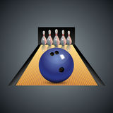 Realistic bowling icon on dark gray background. Bowling strike with ball. Bowling icon with ball and bowling pins. Vector bowling game center background template Stock Images
