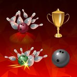 Realistic bowling icon set on red triangular background. Bowling strike with ball. Realistic bowling icon set isolated on red triangular background. Bowling Stock Images