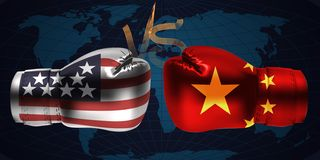 Realistic boxing gloves with prints of the USA and Chinese flags. Facing each other on abstract world map background, illustration design stock illustration