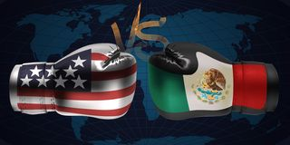 Realistic boxing gloves with prints of the USA and Mexican flags. Facing each other on abstract world map background, illustration design stock illustration
