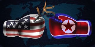 Realistic boxing gloves with prints of the USA North Korean and. Flags facing each other on abstract world map background, illustration design royalty free illustration
