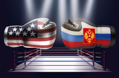 Realistic boxing gloves with prints of the USA and Russian flags. Facing each other on abstract world map background, illustration design royalty free illustration