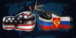 Realistic boxing gloves with prints of the USA and Russian flags. Facing each other on abstract world map background, illustration design vector illustration