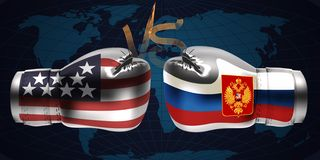 Realistic boxing gloves with prints of the USA and Russian flags. Facing each other on abstract world map background, illustration design stock illustration