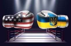 Realistic boxing gloves with prints of the USA and Ukrainian fla. Gs facing each other on abstract world map background, illustration design royalty free illustration