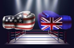 Realistic boxing gloves with prints of the USA and United Kingdo. M flags facing each other on abstract world map background, illustration design vector illustration