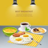 Realistic Breakfast Background. Best tasty breakfast with eggs sausages flakes donuts and coffee on grey table realistic background vector illustration Royalty Free Stock Images