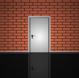 Realistic  brick wall and closed white door interior Royalty Free Stock Photos