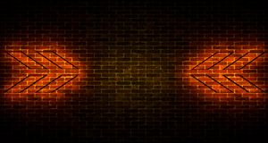 Realistic Brick Wall With Neon Light Arrows And Empty Space. 3d. Realistic Brick Wall With Neon Light Arrows  And Empty Space. 3d rendering illustration Royalty Free Stock Photo