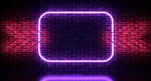 Realistic Brick Wall With Neon Light Rectangles And Arrows . 3d. Rendering illustration vector illustration