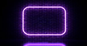 Realistic Brick Wall With Neon Light Rectangles. 3d rendering. Illustration vector illustration