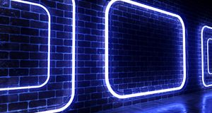 Realistic Brick Wall With Neon Light Rectangles. 3d rendering. Illustration royalty free illustration