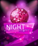 Realistic bright background, beautiful design poster template for night party, celebration. The concept of stylish web design, 3D illustration Royalty Free Stock Photos