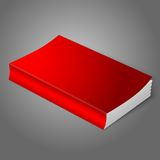 Realistic bright red blank softcover book. Isolated on grey background for your design or branding. Vector illustration Stock Photography
