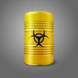 Realistic bright yellow big barrel with bio hazard Royalty Free Stock Image