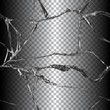 Realistic broken glass illustration. Realistic transparent broken glass seamless black background vector illustration Stock Photos