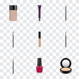 Realistic Brow Makeup Tool, Concealer, Cover And Other Vector Elements. Set Of Maquillage Realistic Symbols Also. Realistic Brow Makeup Tool, Concealer, Cover Royalty Free Stock Images