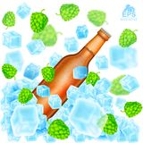 Realistic brown bottle of beer flies out from ice cubes among flying depth of field hop cones and ice on white. Background Royalty Free Stock Photo