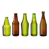 Realistic brown and green bottles of different shape vector illustration Royalty Free Stock Image