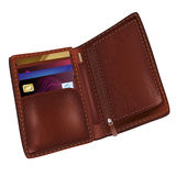 Realistic brown leather wallet Stock Images